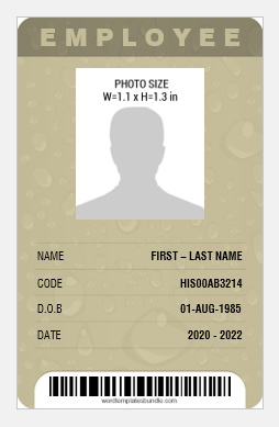 Id card template vertical format