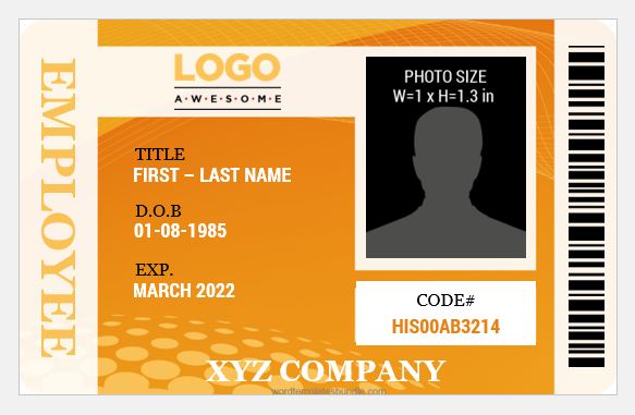 Id card sample for Employees