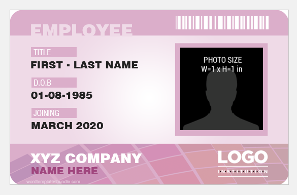 Employee id badge sample