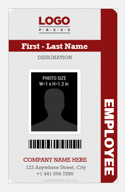 Vertical employee id card sample