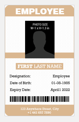 Id card template vertical design