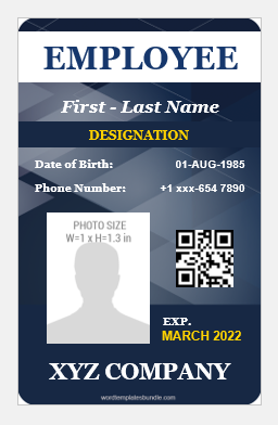 Id card template of vertical design