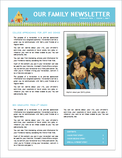 Family Newsletter Sample