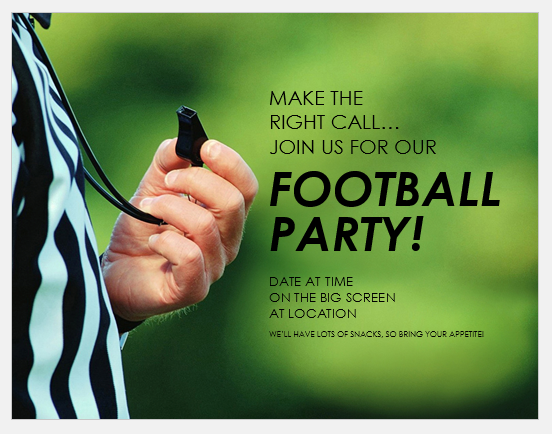 Football party flyer format