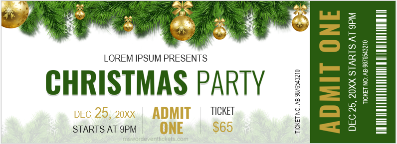 Christmas party ticket sample