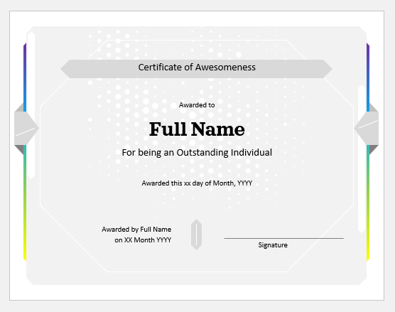 Certificate of outstanding individual
