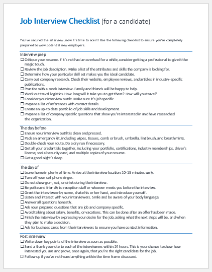 Job interview checklist for a candidate