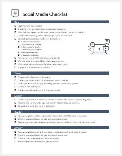 Social media checklist for a business