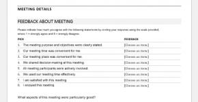 Meeting feedback form